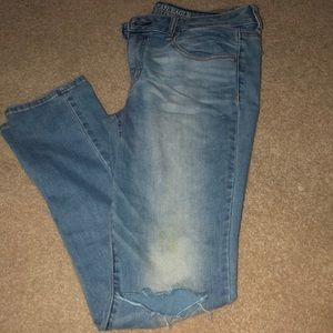 American Eagle mid waist faded jeans